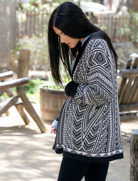 Wendy Bellissimo Cocoon Maternity Cardigan, Black White Aztec