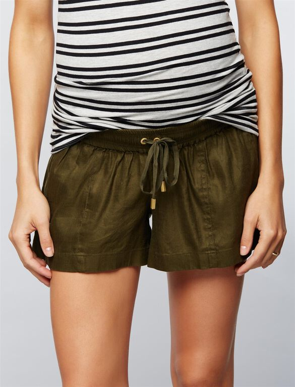 Under Belly Linen Drawstring Maternity Shorts, Tuscan Olive