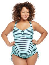 Plus Size Cross Back Maternity Tankini Swimsuit, Teal/Navy Stripe
