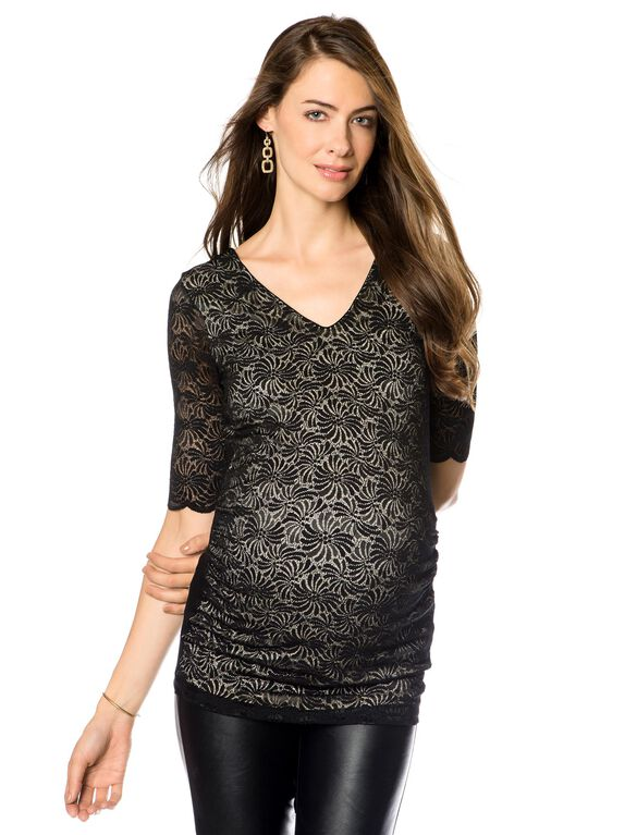 Lace Maternity Top, Caviar Black Print