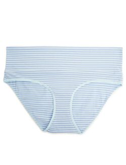Fold Over Maternity Panty (single), Aqua/Violet Stripe