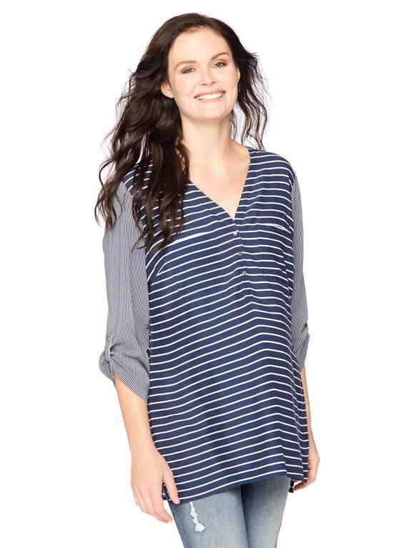 Double Stripe Button Detail Maternity Shirt, Double Stripe