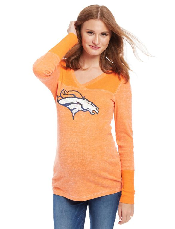 Denver Broncos NFL Long Sleeve Maternity Graphic Tee, Broncos Orange
