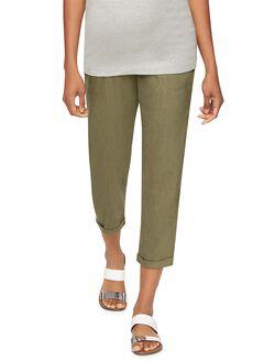 Secret Fit Belly Linen Slim Leg Maternity Crop Pant, Olive