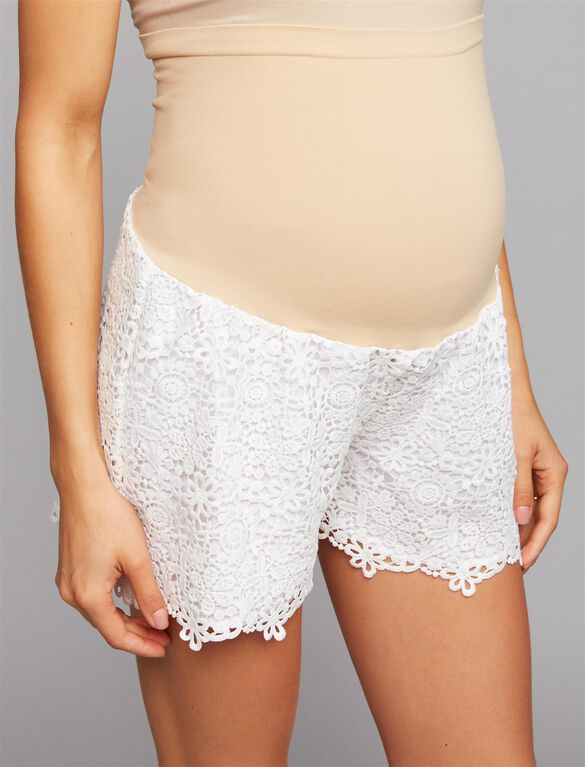 Secret Fit Belly Lace Maternity Shorts, Soft White