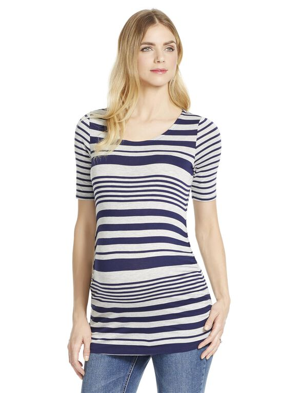 Jessica Simpson Multi Stripe Maternity Tee, Navy/Grey