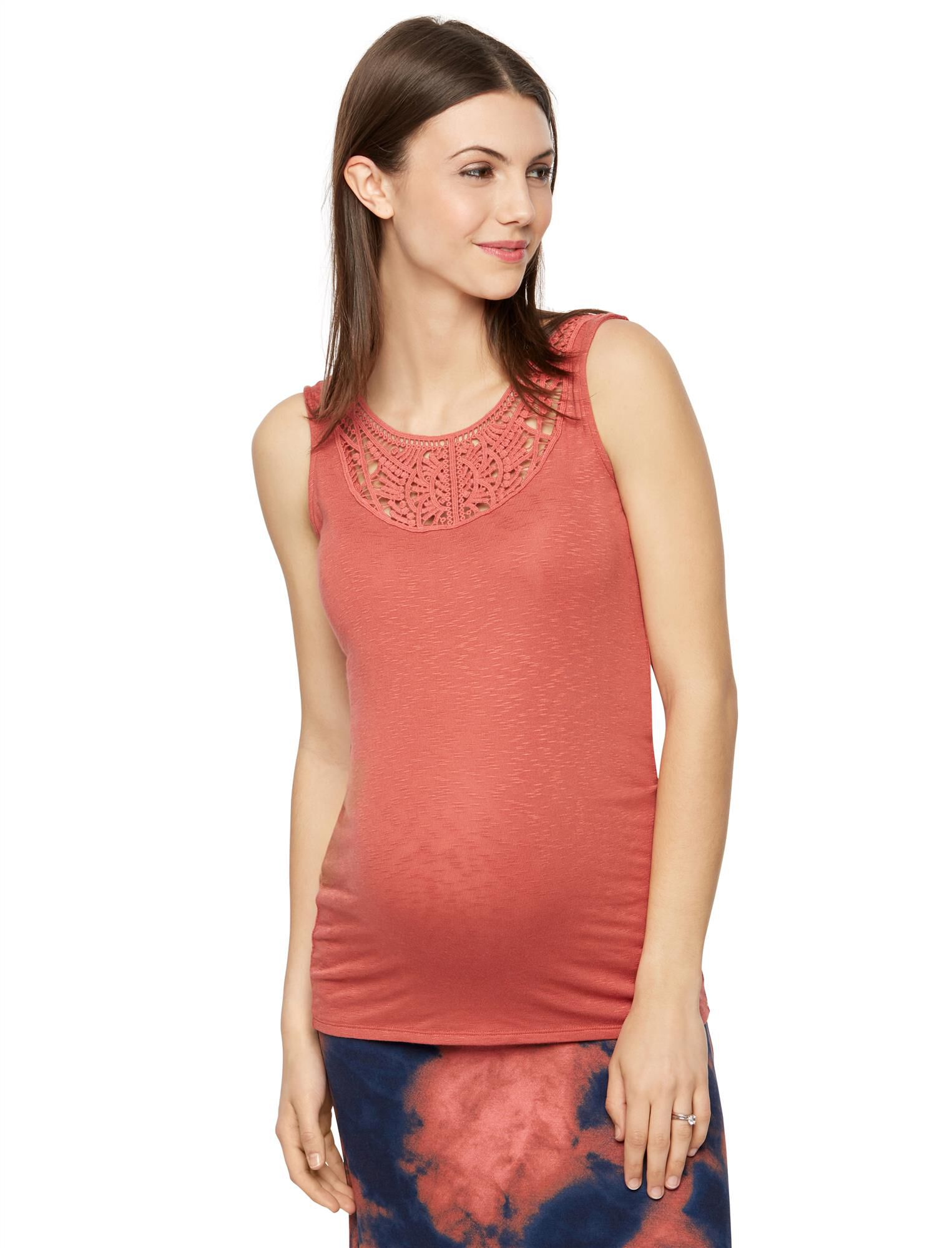 Crochet Detail Maternity Tank Top