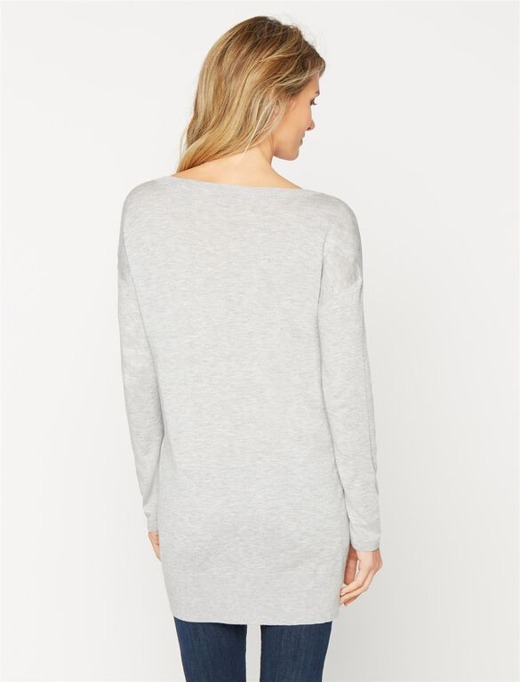 Ella Moss Lace Maternity Sweater, Heather Grey