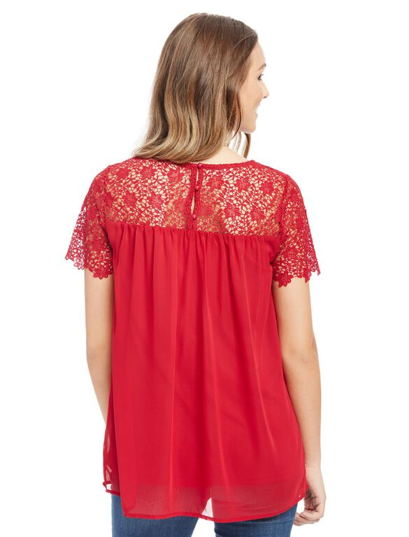 Lace Trim Maternity Blouse, Red
