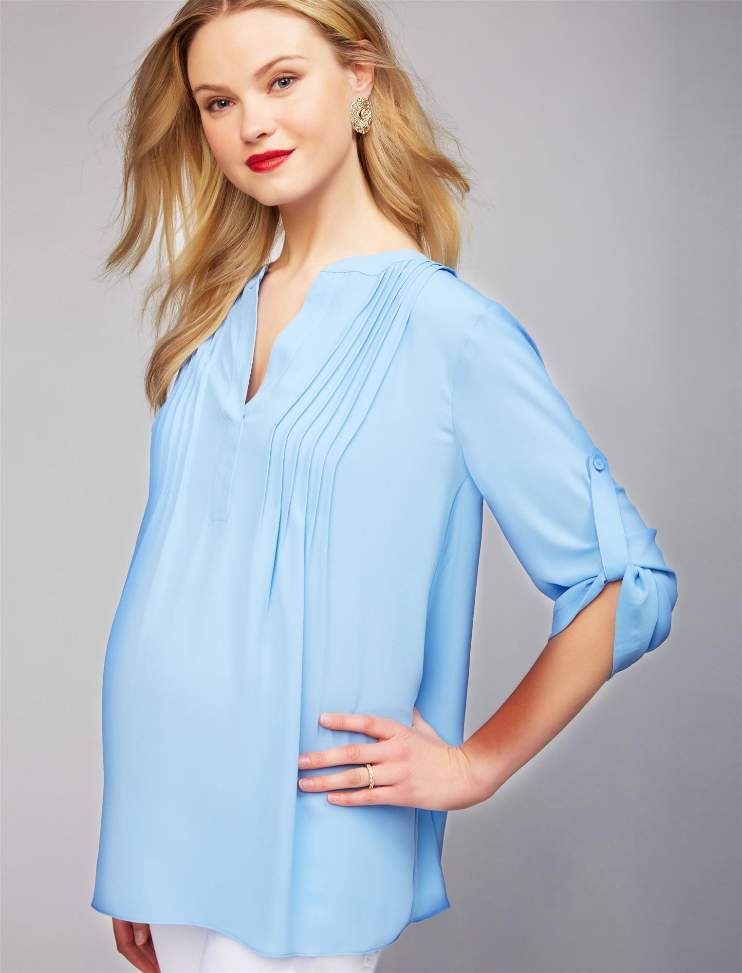 BCBGMAXAZRIA Pleated Convertible Sleeve Maternity Blouse
