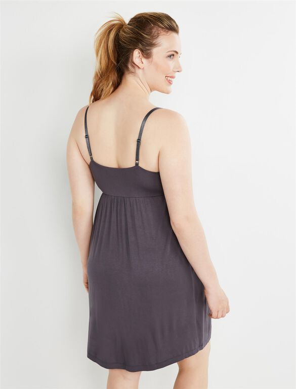 Bump in the Night Nursing Nightgown- Grey, Grey
