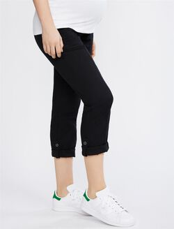 Secret Fit Belly Roll Hem Maternity Pants, Black