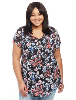 Plus Size Smocked Maternity Blouse, Black Floral
