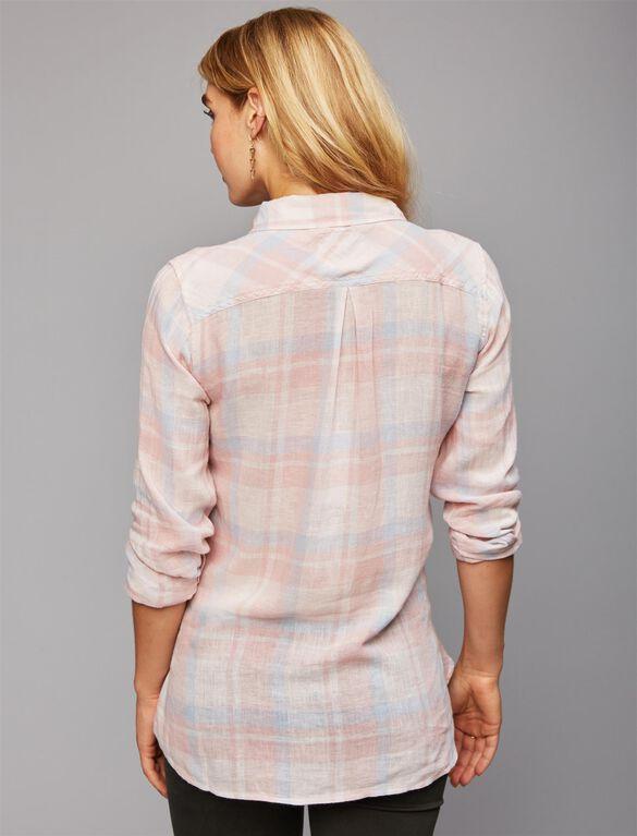 Rails Button Front Maternity Shirt, Pink/Blue Plaid