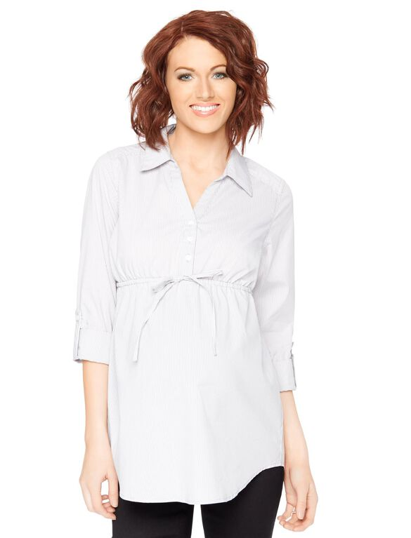 Printed Tie Front Maternity Tunic, Stripe