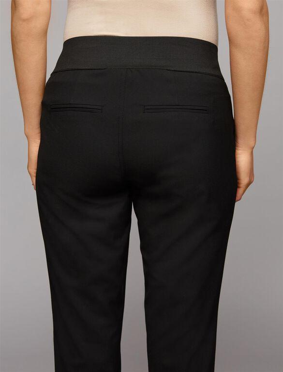 Under Belly Bi-stretch Suiting Straight Leg Maternity Pants, Black