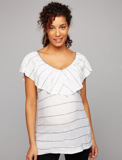 Splendid Ruffle Front Maternity Top, White Stripe