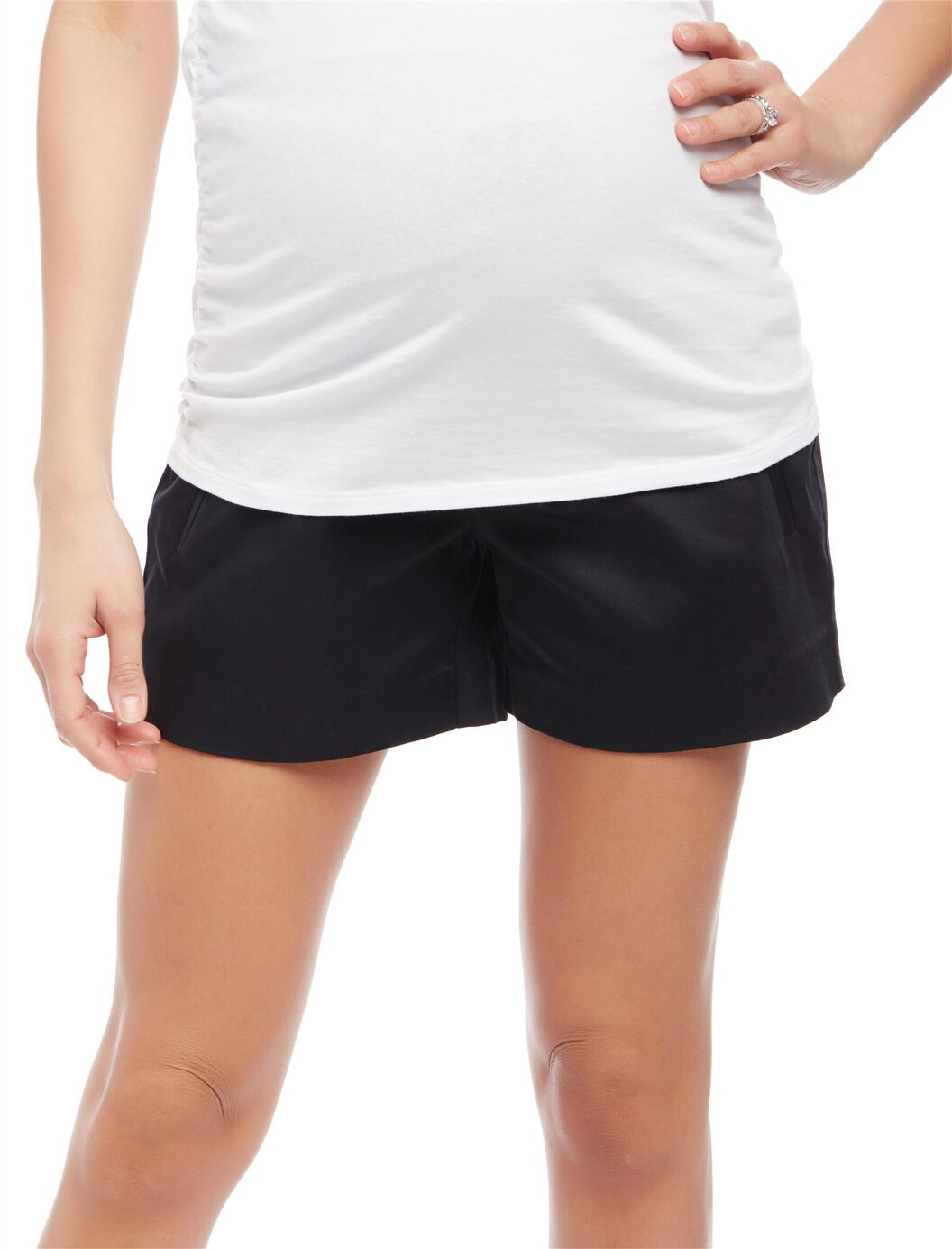 Secret Fit Belly Sateen Maternity Shorts- Solid at Motherhood Maternity in Victor, NY | Tuggl