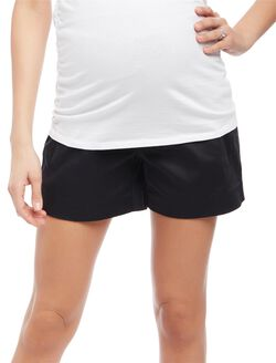Secret Fit Belly Sateen Maternity Shorts- Solid, Black
