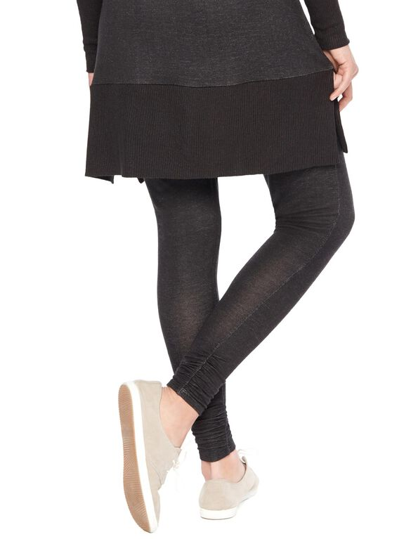 Under Belly French Terry Skinny Maternity Lounge Pants, Black