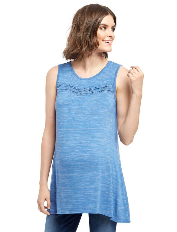 Wendy Bellissimo Lace Trim Maternity Top, Blue