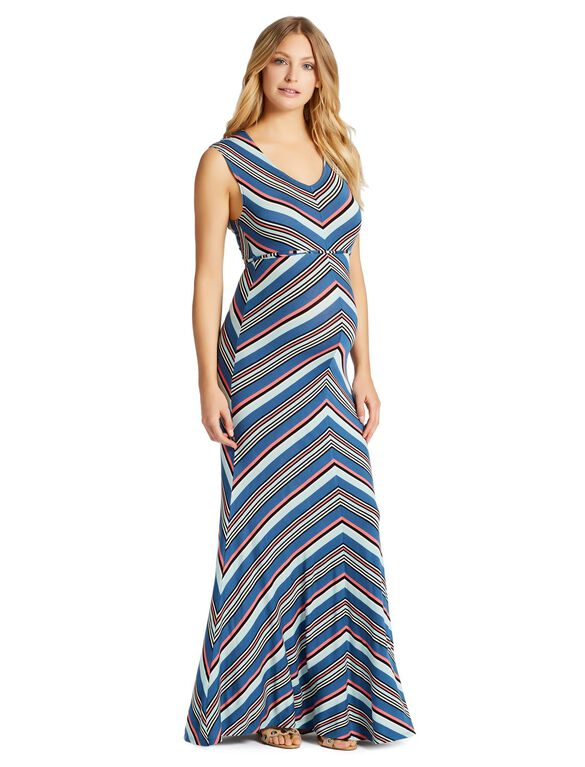 Jessica Simpson Striped Maternity Maxi Dress, Blue Stripe
