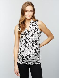 Ruched Maternity Tank Top- Black/White Print, Black White Floral