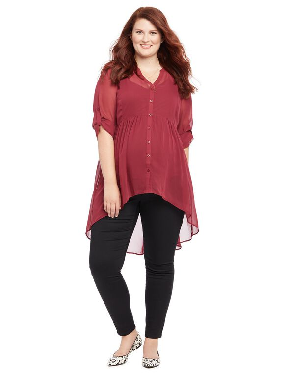 Plus Size Convertible Sleeve Maternity Blouse, Burgundy