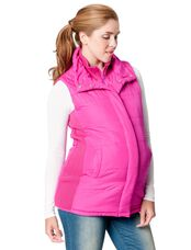 Quilted Puffer Maternity Vest, Pink