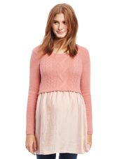 Cable Knit Maternity Sweater Shirt, Pink
