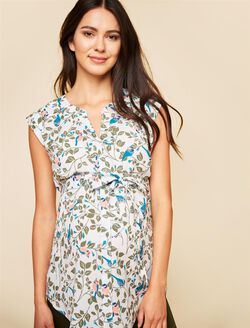 Cap Sleeve Tie Detail Maternity Tunic- White Bird Print, White Bird Print