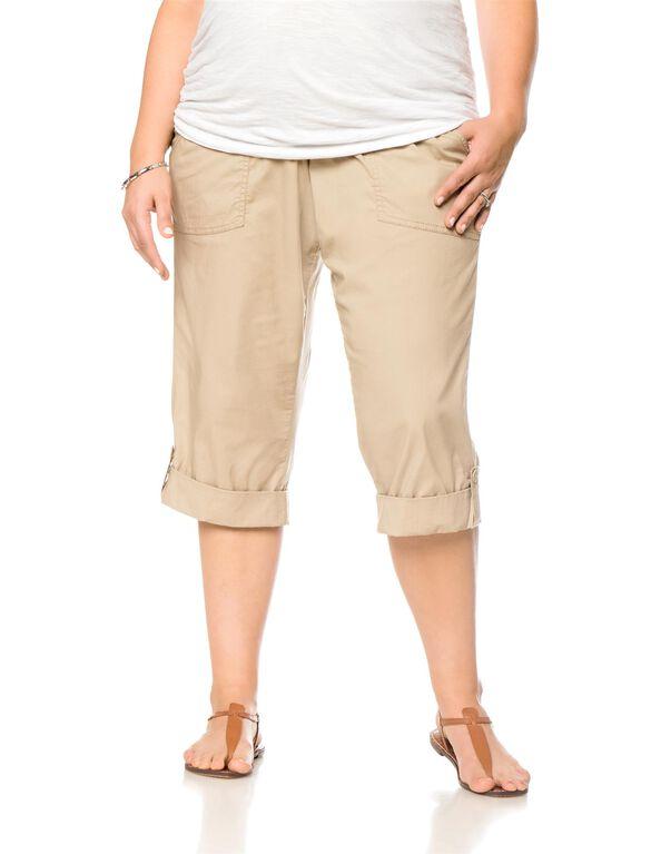 Motherhood Plus Size Cargo Pockets Maternity Pants, Khaki