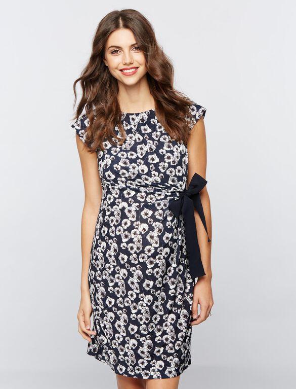 Taylor Side Tie Maternity Dress- Navy/White, Navy/White Print
