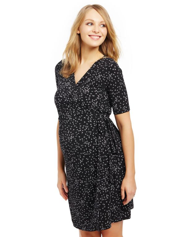 Waist Tie Surplice Maternity Dress, Wish Print