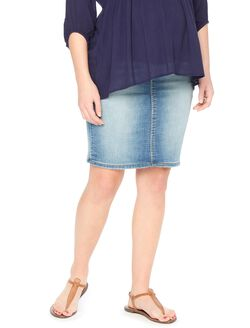 Secret Fit Belly Denim Maternity Skirt, Medium Wash