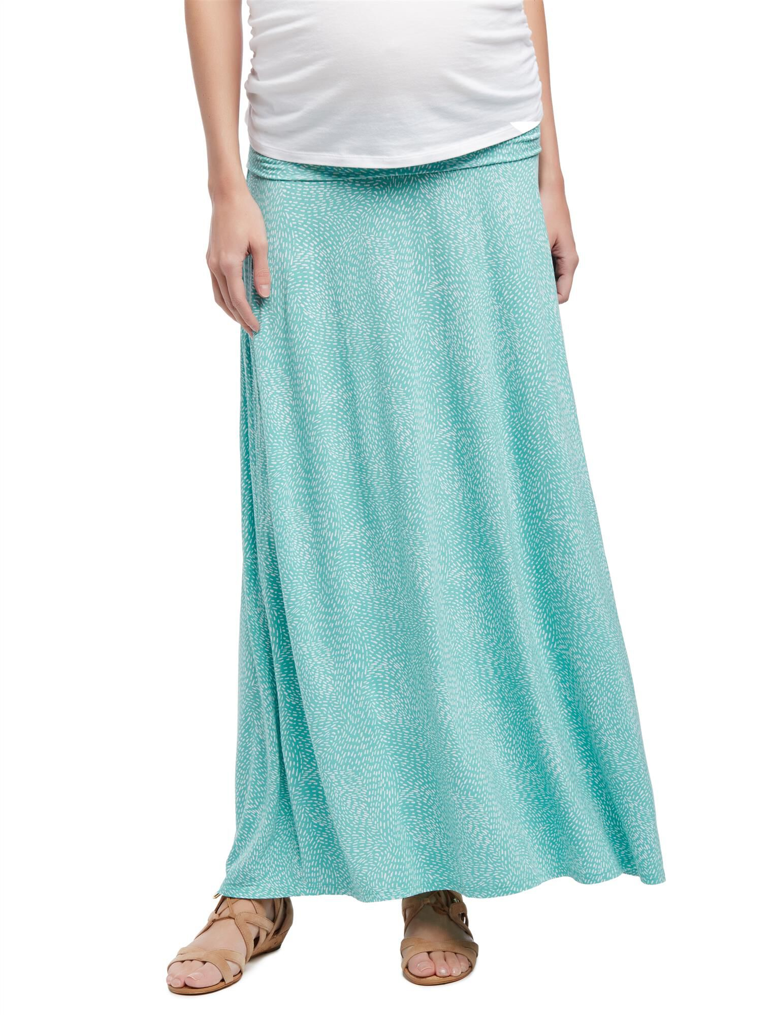 Fold Over Belly Printed Maternity Skirt- Aqua Swirl