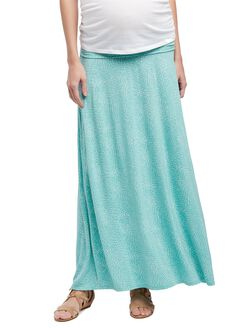 Fold Over Belly Printed Maternity Skirt- Aqua Swirl, Aqua Swirl