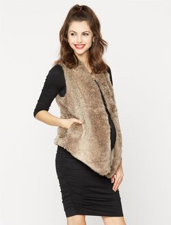 Tart Collections Faux Fur Maternity Vest, Grey