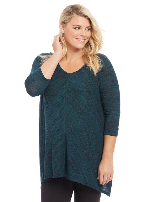 Plus Size Hanky Hem Maternity Top, Teal Space Dye