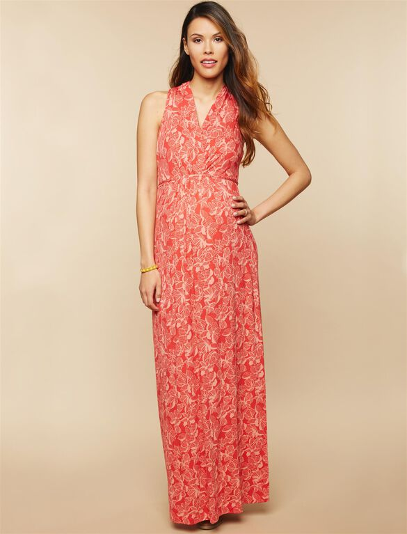 Surplice Neckline Maternity Maxi Dress- Red Floral Print, Red Floral Print