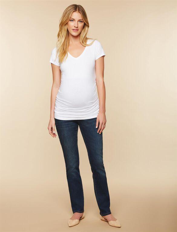Petite Secret Fit Belly Stretch Straight Leg Maternity Jeans, Dark Wash