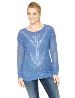 Pointelle Knit Maternity Sweater, Dutch Blue