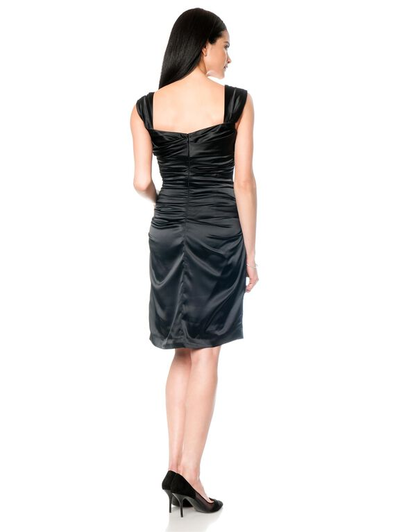 Ruched Maternity Dress, Black