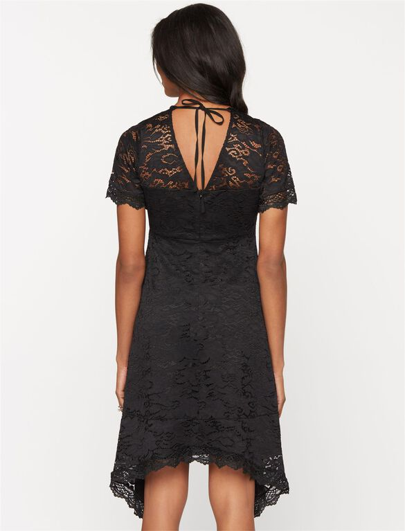 Lace Hanky Hem Maternity Dress, Black