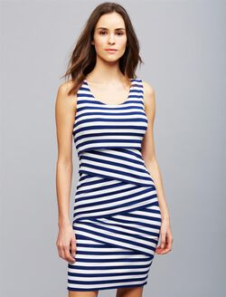 Ripe Pull Down Nursing Dress, NAVY WHITE STRIPE