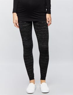 Secret Fit Belly Spacedye Maternity Leggings, Black