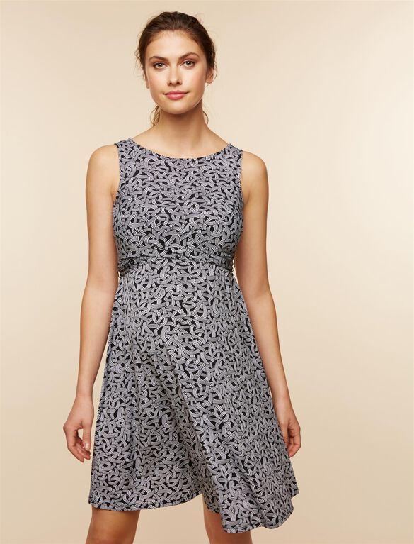Wrap Maternity Dress, Black Print