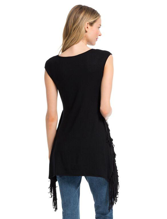 Jessica Simpson Cap Sleeve Side Fringe Maternity Tunic, Black