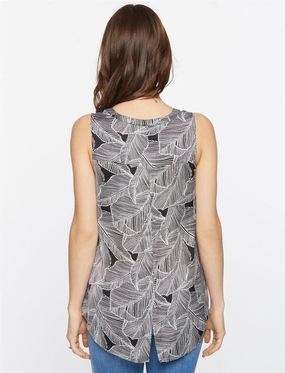 Daniel Rainn Pleated Maternity Blouse- Palm Print, Palm Print
