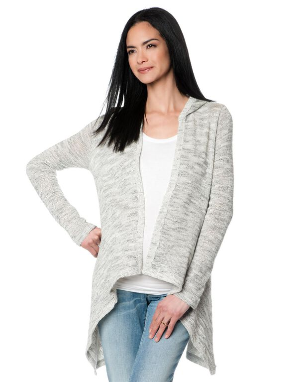 Drew Cascade Maternity Sweater, Heathered Light Grey